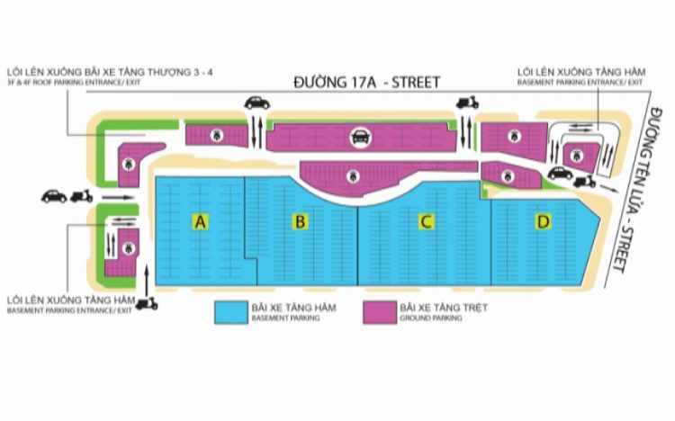 Bãi xe hơi mới tầng hầm tại AEON MALL Bình Tân